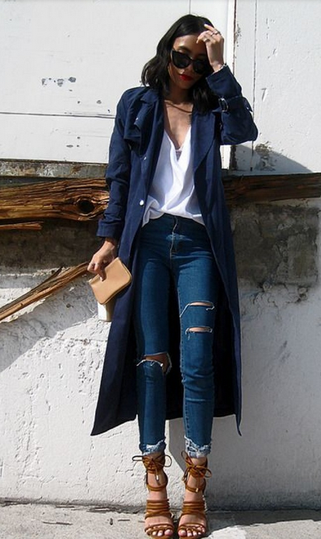 Navy trench | Fashion, Trench coat outfit, Casual fashi