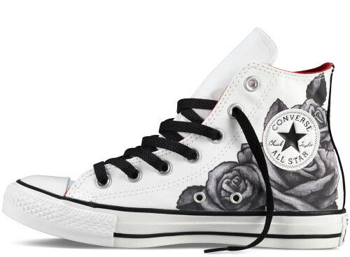 White And Black Rose Converse | Converse design, Converse .