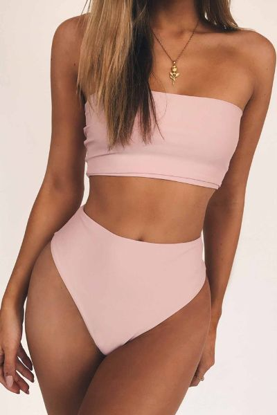 Cabo High Waisted Bandeau Bikini Set #dresses #dress #shoes .