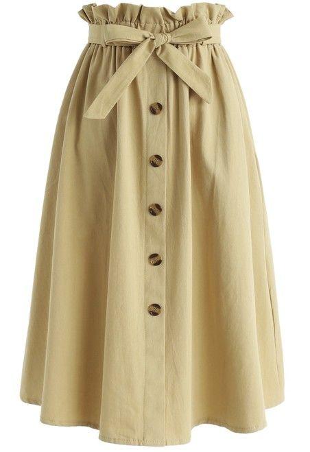 Tie Waist Button Down Skirt Light Mustard | Trendy skirts, Skirt .