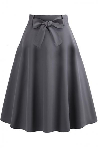 New Trendy Simple Plain Vintage Bow-Tied Waist Midi Gray Swing .
