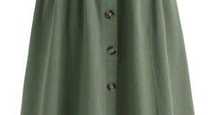Tie Waist Button Down Skirt Green | Army green skirt, Skirt .