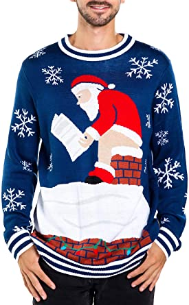 Amazon.com: Tipsy Elves Men's Santa Pooping Ugly Christmas Sweater .
