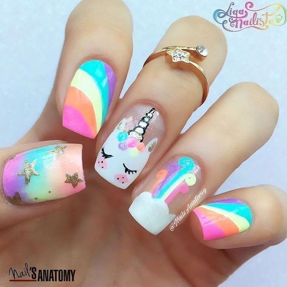 Unicorn fix for the day thanks to this cute unicorn nail art by .