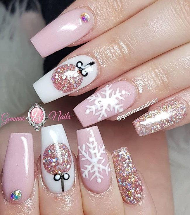 Cool Long Coffin Nail Designs | Cute christmas nails, Xmas nails .