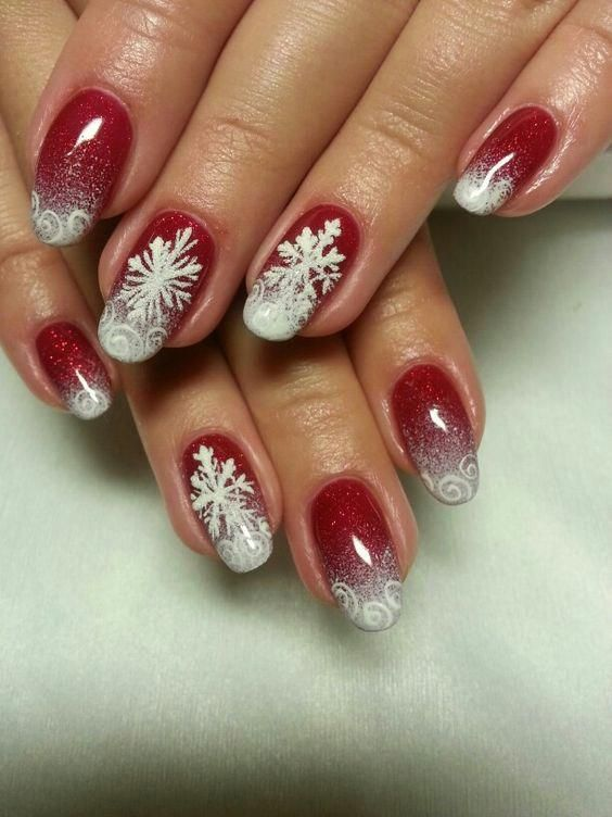 Winter nails with snowflake; red and white Christmas nails; cute .