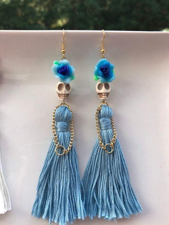 Sugar skull jewelry - Homemade jewelry - Halloween jewelry - Diy .