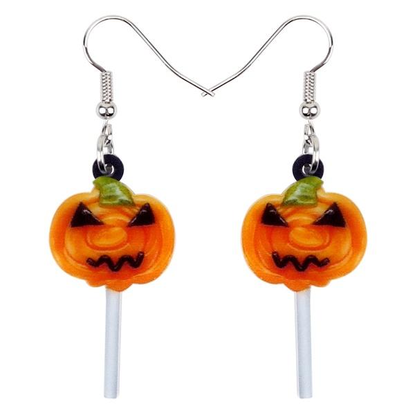 Acrylic Halloween Sweet Pumpkin Lollipop Candy Earrings Drop .