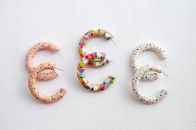 Colorful Beaded hoops gold filled earrings | Etsy | Etsy earrings .