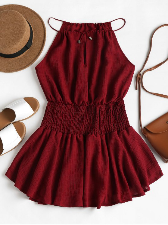 28% OFF] 2020 Smocked Waist Cami Dress In RED WINE | ZAF