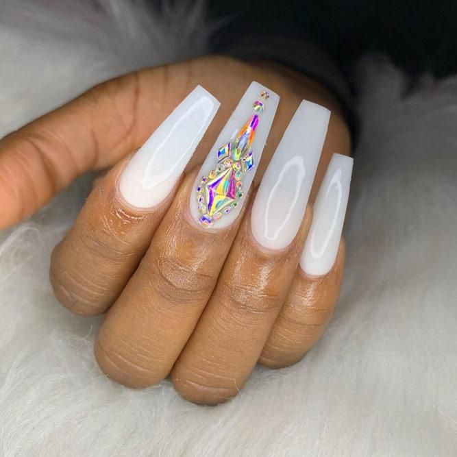 The Most Stylish Ideas For White Coffin Nails Design in 2020 .