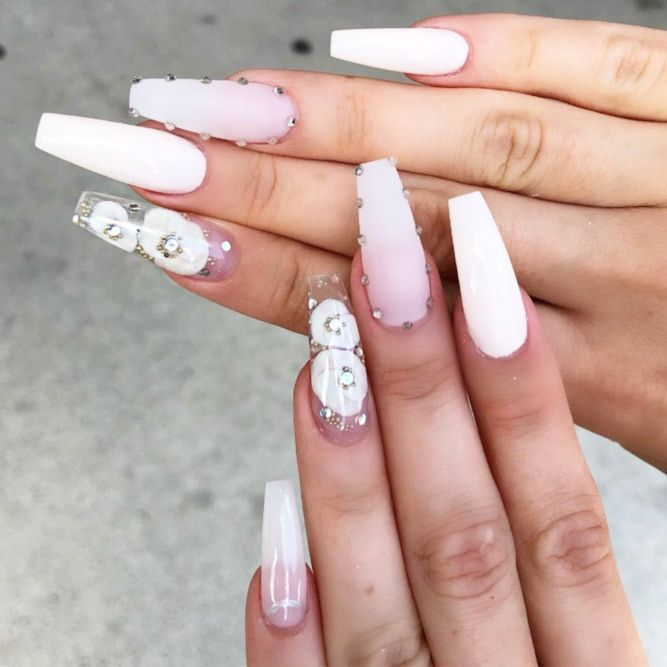 The Most Stylish Ideas For White Coffin Nails Design | White nail .