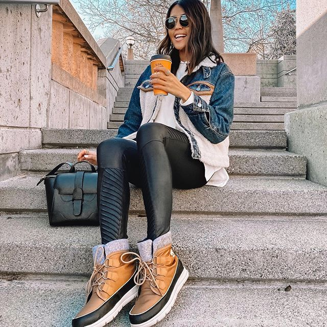 staying warm + cozy with sherpa denim jacket, hot ☕, and .