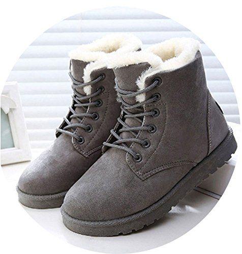 Women Snow Warm Winter Lace Up Fur Ankle Boots Ladies Winter Shoes .