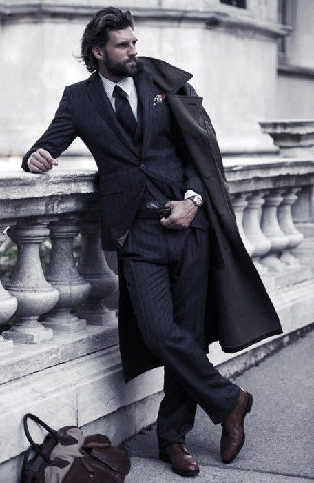 Fall Winter Season Mens Navy Blue Suit Brown Shoes Outfit Style .